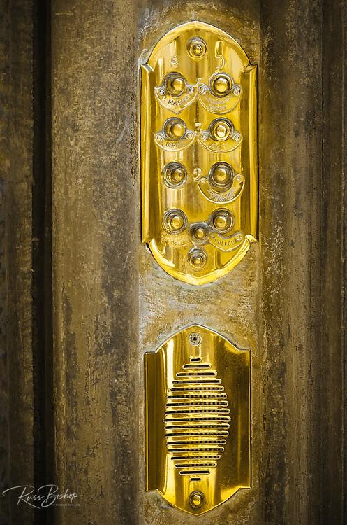 Brass entry buzzer, Florence, Tuscany, Italy