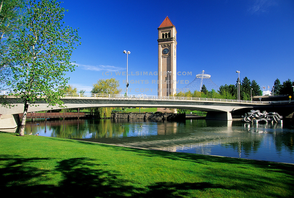 Image of Spokane's Riverfront Park and Clock Tower on the Spokane River, Washington, Pacific Northwest by Randy Wells