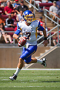San Jose State quarterback Matt Faulkner (7) looks for a pass against Stanford University (7) in Palo Alto, Calif., Sept. 3, 2011.  The Cardinals proved to be too much for the Spartans to handle, winning 57-3. (Spartan Daily/Stan Olszewski)