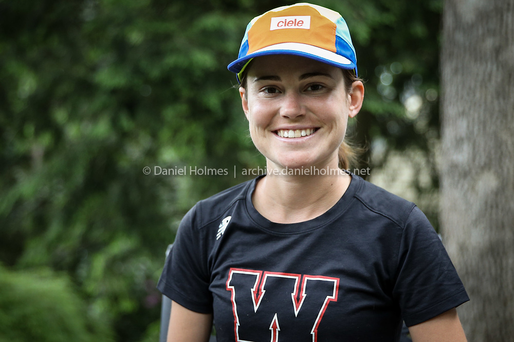 (6/6/20, WELLESLEY, MA) Wellesley resident Cassie Short poses for a photo in Wellesley on Saturday. Short was about to run in her fifth consecutive Boston Marathon before it was cancelled because of COVID-19. [Daily News and Wicked Local Photo/Dan Holmes]