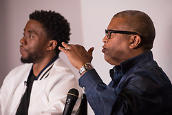 """(L-R); Lead actor Chadwick Boseman, and Director Reginald Hudlin, participated in a Q&A after the advance screening of the movie """"Marshall"""",  a biography about a young Thurgood Marshall, the first African-American Supreme Court Justice. Previewed on day four of the NAACP's 108th Annual Convention, at the Landmark Theater, in Baltimore, MD. on July 25, 2017. (Photo by Cheriss May) *** Please Use Credit from Credit Field ***"""
