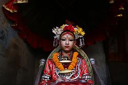 May 5, 2017 - Lalitpur, Nepal - Living Goddess Kumari looks on as she observes the chariot pulling festival of the ''God of Rain'' Rato Machhindranath in Lalitpur, Nepal on Friday, May 05, 2017. (Credit Image: © Skanda Gautam via ZUMA Wire)