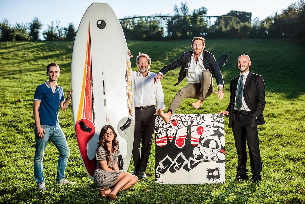 """23 SEP 2014 - Serle (BS) - Silvio Bettini, """"BexB S.p.A."""", con i collaboratori: Filippo Geltraretti (giacca blu), Luca Barbieri (maglietta), Giorgio Magenets (vestito nero), Simona Beccalossi"""