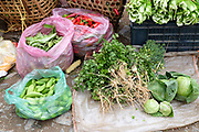 Local produce for sale in Nobding farmers market, Bhutan.