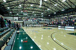 BLOOMINGTON, IL - December 15: Shirk Center - National Anthem during a college women's basketball game between the IWU Titans  and the Carroll Pioneers on December 15 2018 at Shirk Center in Bloomington, IL. (Photo by Alan Look)