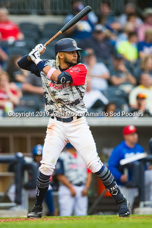 Amarillo Sod Poodles infielder Fernando Tatis Jr. (23) bats against the Frisco Rough Riders on Monday, June 3, 2019, at HODGETOWN in Amarillo, Texas. [Photo by John Moore/Amarillo Sod Poodles]