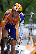 FRANCE 21st JULY 2007: Rabobank's Michael Boogerd powers through the rain on stage 13 of the Tour de France cycle race. This stage was a time trial.
