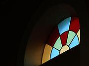 Stained glass window in  Shkodër Cathedral, Katedralja e Shkodrës, St Stephen's Catholic Cathedral, Kisha e Madhe, the Great Church. Shkodër, Albania. 02Sep15