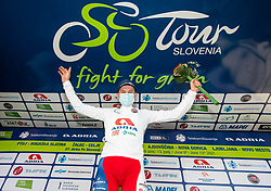 Best young rider Kristijan HOCEVAR of ADRIA MOBIL celebrates in white jersey at trophy ceremony after the 4th Stage of 27th Tour of Slovenia 2021 cycling race between Ajdovscina and Nova Gorica (164,1 km), on June 12, 2021 in Slovenia. Photo by Vid Ponikvar / Sportida