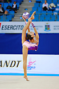 """Adilkhanova Alina from Kazakhstan during ball routine at  the International Tournament """"Città di Pesaro"""",02 April,2016.This tournament dedicated to the youngest athletes is at the same time of the World Cup."""