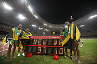 Friidrett<br /> OL 2008 Beijing<br /> 22.08.2008<br /> Foto: imago/Digitalsport<br /> NORWAY ONLY<br /> <br /> 4x100m Staffel Olympiasieger Jamaica v.li.: Asafa Powell, Michael Frater, Nesta Carter, Usain Bolt mit neuem Weltrekord (37.10 sec.) <br /> <br /> BILDET INNGÅR IKKE I FASTPAKKER