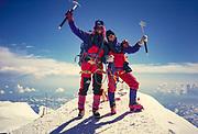 Rob Hall & Jan Arnold on summit Denali, Mt McKinley, Alaska, 1990