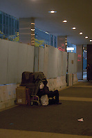 Homeless man in Midtown Manhattan New York