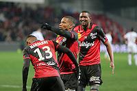 JOIE GUINGAMP  / Christophe MANDANNE / Claudio BEAUVUE     - 24.01.2015 - Guingamp / Lorient - 22eme journee de Ligue1<br />Photo : Vincent Michel / Icon Sport *** Local Caption ***