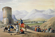 First Anglo-Afghan War 1838-42: British army passing through Meyden valley on march from Meyden to Urghundee.  From J Atkinson 'Sketches in Afghanistan' London 1842. Hand-coloured lithograph.