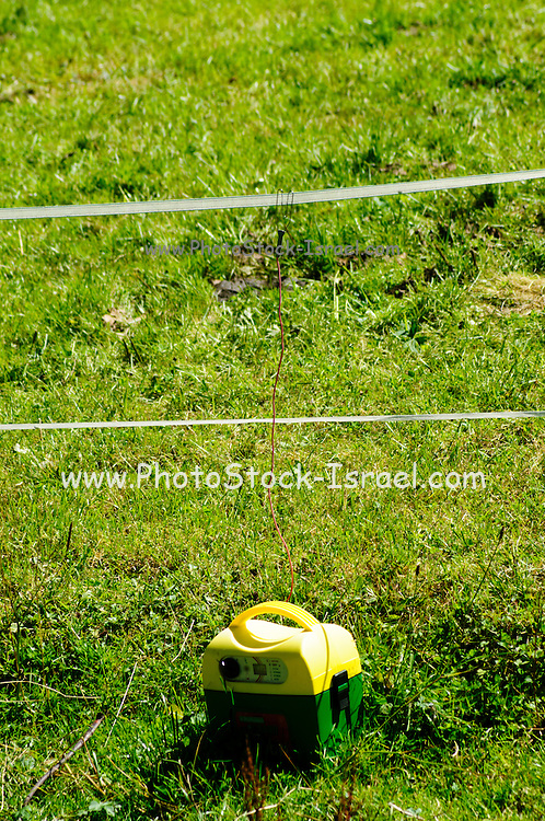 Cattle electric fence with power source Photographed in Tirol, Austria