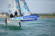 Armel Le Cleac'h and Kevin Escoffier from the Banque Populaire Sailing Team and the Flying Phantom, The Flying Phantom is a new generation of foiling catamarans design by Martin Fisher, in Lorient, France, on Decembre 2015, Photo Christophe Launay / ProSportsImages / DPPI
