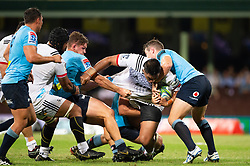 March 23, 2019 - Sydney, NSW, U.S. - SYDNEY, NSW - MARCH 23: Crusaders player Michael Alaalatoa (3) tries to break the tackle of Waratahs player Michael Hooper (7) and Waratahs player Bernard Foley (10) at round 6 of Super Rugby between NSW Waratahs and Crusaders on March 23, 2019 at The Sydney Cricket Ground, NSW. (Photo by Speed Media/Icon Sportswire) (Credit Image: © Speed Media/Icon SMI via ZUMA Press)