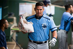 June 5, 2017 - St. Petersburg, Florida, U.S. - WILL VRAGOVIC       Times.Charlotte Stone Crabs catcher Wilson Ramos (36) in the dugout during the game between the Charlotte Stone Crabs and the Clearwater Threshers at Spectrum Field in Clearwater, Fla. on Monday, June 6, 2017. (Credit Image: © Will Vragovic/Tampa Bay Times via ZUMA Wire)