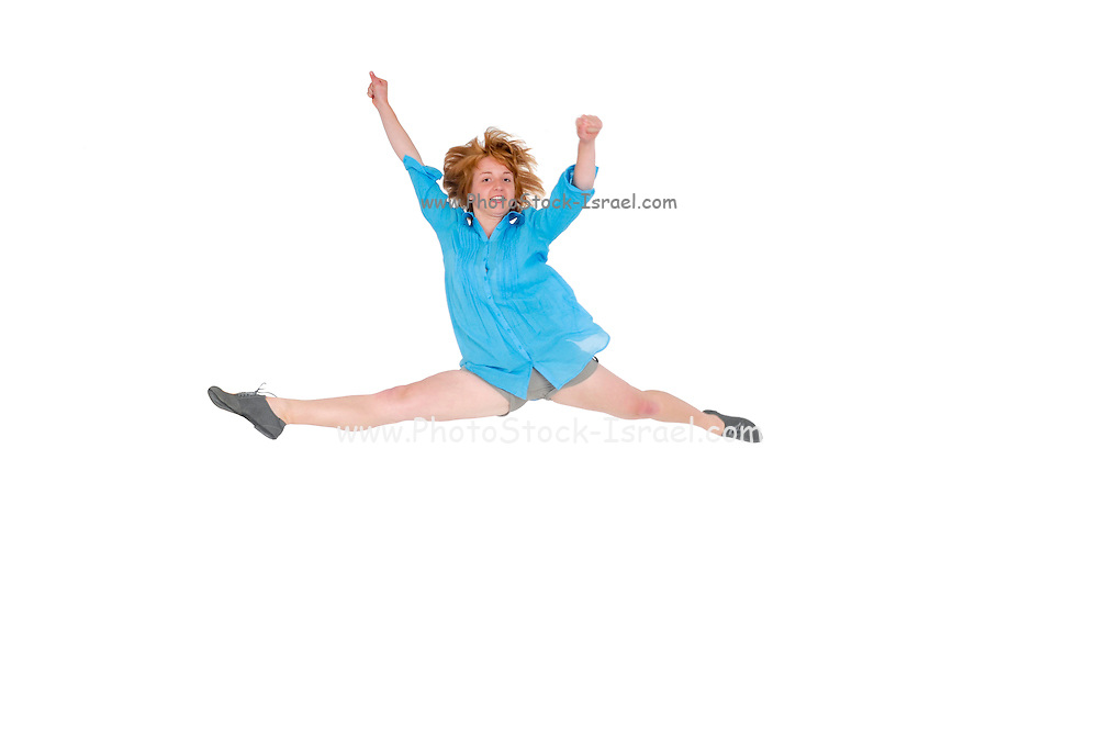 smiling young woman jumps with joy On white Background