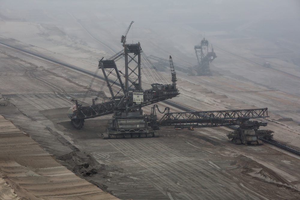 The Hambach open pit mine is operated by RWE close to Bonn, Germany and extracts lignite, or brown coal, the most polluting form of coal. The mine is the deepest depression on the surface of the planet. This mining area near Cologne is Europe's greatest source of CO2 emissions.