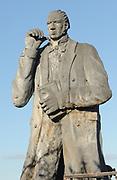 Statue of Charles Darwin on Cerro Tijeretas commemorating his first landing from HMS Beagle the Galapagos islands  on the beach below at Cerro Brujo on 16 September 1835. San Cristobal was then known as Chatham Island. Puerto Baquerizo Moreno, San Cristobal, Galapagos, Ecuador.