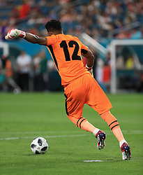 March 23, 2018 - Miami Gardens, Florida, USA - Peru goalkeeper Carlos Caceda (12) in action during a FIFA World Cup 2018 preparation match between the Peru National Soccer Team and the Croatia National Soccer Team at the Hard Rock Stadium in Miami Gardens, Florida. (Credit Image: © Mario Houben via ZUMA Wire)
