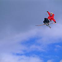 SKIING, Ben Wiltsie (MR) jumps at terrain park, Mammoth Mt. Ski Area, Calif.