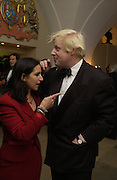 Boris Johnson and his wife Marina. The Leader's Dinner ( Michael Howard's ) Banqueting House. Whitehall. London.  November 2005. ONE TIME USE ONLY - DO NOT ARCHIVE  © Copyright Photograph by Dafydd Jones 66 Stockwell Park Rd. London SW9 0DA Tel 020 7733 0108 www.dafjones.com