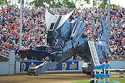 The Easter Show, Sydney-AustraliaThe Easter Show, Sydney-Australia.A Robosaurus standing 12 metres tall lifts a car and roasts it with a jet of flaming breath and thenrips it to pieces with its crushing claws and stainless steel teeth..Paul Lovelace Photography.[Total 58 Images].[Non Exclusive] . An instant sale option is available where a price can be agreed on image useage size. Please contact me if this option is preferred.