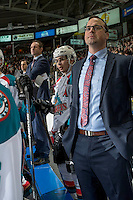 KELOWNA, CANADA - DECEMBER 30: Jason Smith, head coach, Nick Merkley #10 and Kris Mallette, assistant coach of the Kelowna Rockets stand on the bench against the Victoria Royals on December 30, 2016 at Prospera Place in Kelowna, British Columbia, Canada.  (Photo by Marissa Baecker/Shoot the Breeze)  *** Local Caption ***