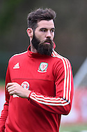 Joe Ledley of Wales during the Wales football team training at Hensol Castle, Vale of Glamorgan, South Wales on Tuesday 10th November 2015. the team are training ahead of their friendly against the Netherlands on Friday,<br /> pic by  Andrew Orchard, Andrew Orchard sports photography.