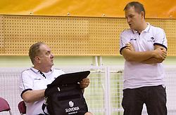 Head coach Bozidar Maljkovic and Matej Avanzo during practice session of Slovenian National Basketball team during training camp for Eurobasket Lithuania 2011, on July 12, 2011, in Arena Vitranc, Kranjska Gora, Slovenia. (Photo by Vid Ponikvar / Sportida)
