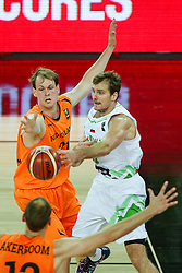 Zoran Dragic of Slovenia and Robin Smeulders of Netherlands during basketball match between Slovenia vs Netherlands at Day 4 in Group C of FIBA Europe Eurobasket 2015, on September 8, 2015, in Arena Zagreb, Croatia. Photo by Matic Klansek Velej / Sportida