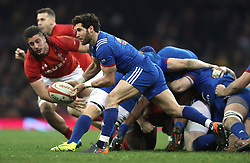 France's Maxime Machenaud during the NatWest 6 Nations match at the Principality Stadium, Cardiff. PRESS ASSOCIATION Photo. Picture date: Saturday March 17, 2018. See PA story RUGBYU Wales. Photo credit should read: David Davies/PA Wire. RESTRICTIONS: Use subject to restrictions. Editorial use only. Strictly no commercial use. No use in books without prior written permission from WRU.