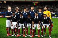 Equipe France - 25.03.2015 - Football Espoirs - France / Estonie - Match Amical -Valenciennes<br /> Photo : Dave Winter / Icon Sport<br /> <br /> <br /> Aymeric LAPORTE / Baptiste ALOE / Corentin TOLISSO / Sebastien HALLER / Morgan SANSON / Mouez HASSEN.<br /> Lenny NANGIS / Georges Kevin NKOUDOU / Steven MOREIRA / Corentin JEAN / Jordan AMAVI *** Local Caption ***