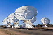 Radio telescope microwave parabolic dish antennas at CSIRO Australia Telescope Compact Array in Narrabri, New South Wales, Australia. <br /> <br /> Editions:- Open Edition Print / Stock Image