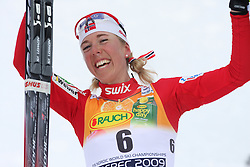 Placed second Kristin Stoermer Steira of Norway reacts in the finish at Ladies` Pursuit 7,5 km Classic + 7,5 km Free at FIS Nordic World Ski Championships Liberec 2008, on February 21, 2009, in Vestec, Liberec, Czech Republic. (Photo by Vid Ponikvar / Sportida)