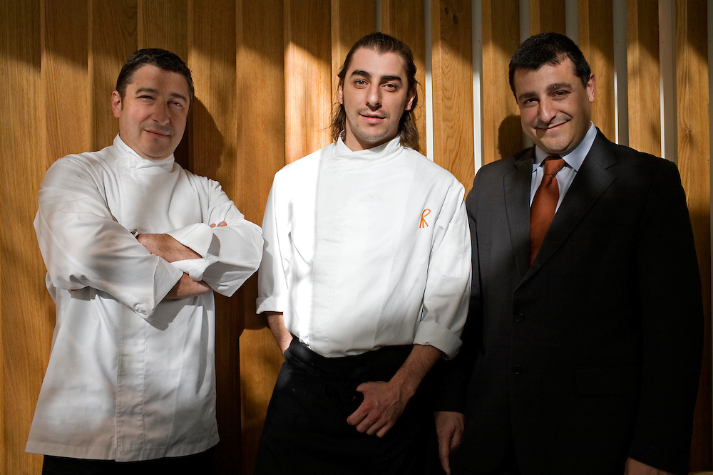 The best Catalan cooks of the guide Michelin. The brothers Roca (from left to right) Joan, Jordi and Josep owners of the restaurant El Celler de Can Roca wich has high prestige by their stars in the guide Michelin. The image is taken at their new restaurant la Torre de Can Roca.