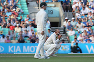 Nathan Lyon of Australia contemplates during the 3rd day of the Investec Ashes Test match between England and Australia at the Oval, London, United Kingdom on 22 August 2015. Photo by Phil Duncan.