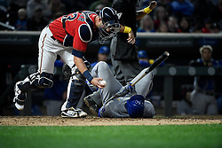 September 1, 2017 - Minneapolis, MN, USA - Minnesota Twins catcher Mitch Garver, left, grabs the ball as the Kansas City Royals' Lorenzo Cain falls to the ground after hitting himself in the groin with a foul tip in the sixth inning on Friday, Sept. 1, 2017, at Target Field in Minneapolis. The Royals won, 7-6. (Credit Image: © Aaron Lavinsky/TNS via ZUMA Wire)
