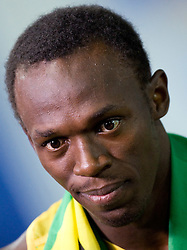 Usain Bolt of Jamaica celebrates winning the gold medal in the men's 4x100 Metres Relay Final during day eight of the 12th IAAF World Athletics Championships at the Olympic Stadium on August 22, 2009 in Berlin, Germany. (Photo by Vid Ponikvar / Sportida)