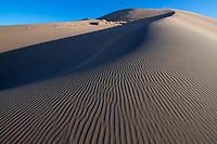 Drift sand dunes in the Gobi desert outside Dunhuang in Gansu, China.