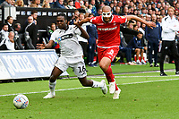 Football - 2018 / 2019 Sky Bet EFL Championship - Swansea City vs. Nottingham Forest<br /> <br /> Joel Asoro of Swansea City brought down by  Adlène Guédioura of Nottingham Forest, at Liberty Stadium.<br /> <br /> COLORSPORT/WINSTON BYNORTH