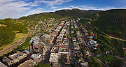 SHOT 7/1/17 7:09:32 PM - Drone photos of Park City, Utah. Park City lies east of Salt Lake City in the western state of Utah. Framed by the craggy Wasatch Range, it's bordered by the Deer Valley Resort and the huge Park City Mountain Resort, both known for their ski slopes. Utah Olympic Park, to the north, hosted the 2002 Winter Olympics and is now predominantly a training facility. In town, Main Street is lined with buildings built during a 19th-century silver mining boom. (Photo by Marc Piscotty / © 2017)