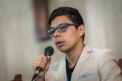 8 December 2019, Madrid, Spain: 18-year-old Sebastian Ignacio Muñoz Oyarzo from Chile speaks during a session following an ecumenical prayer service held in the Iglesia de Jesús in central Madrid during COP25.