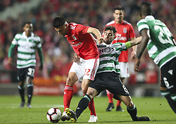 February 7, 2019 - Na - Lisbon, 06/02/2019 - SL Benfica received this evening the Sporting CP in the Stadium of Light, in game the account for the first leg of the Portuguese Cup 2018/19 semi final. Samaris and Bruno Fernandes  (Credit Image: © Atlantico Press via ZUMA Wire)