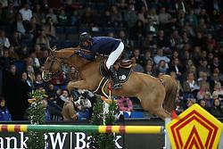 Angot Cedric, (FRA), Saxo de la Cour<br /> Grand Prix of Stuttgart <br /> Longines FEI World Cup<br /> Stuttgart - German Masters 2015<br /> © Hippo Foto - Stefan Lafrentz