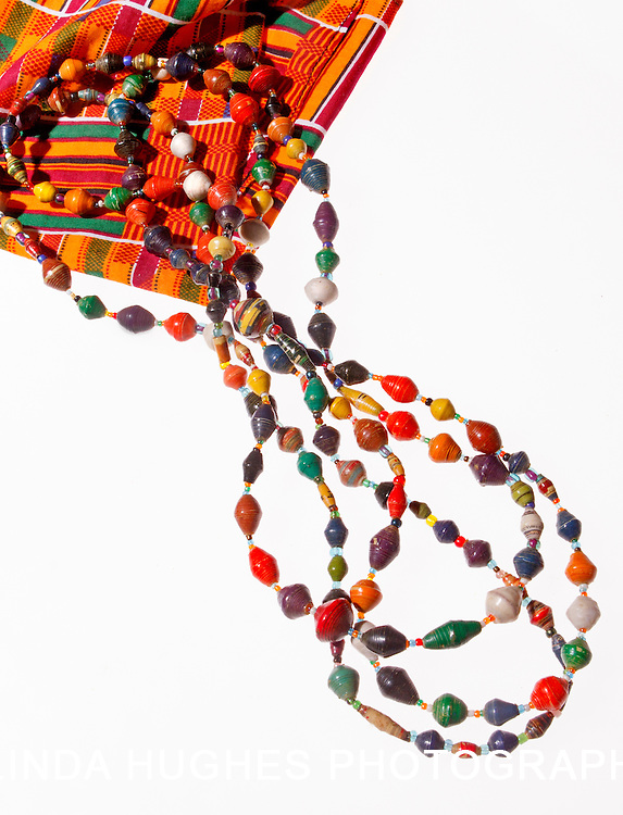 African beads on Kente Cloth
