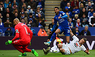 Riyad Mahrez of Leicester scores his teams 2nd goal  to put his side 2-0 up. Premier league match, Leicester City v Watford at the King Power Stadium in Leicester, Leicestershire on Saturday 6th May 2017.<br /> pic by Bradley Collyer, Andrew Orchard sports photography.